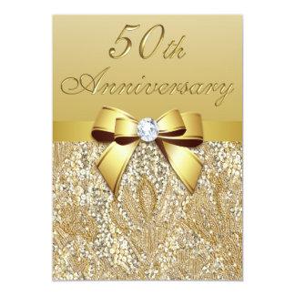 50.o Lentejuelas y arco del aniversario de boda Invitación 12,7 X 17,8 Cm