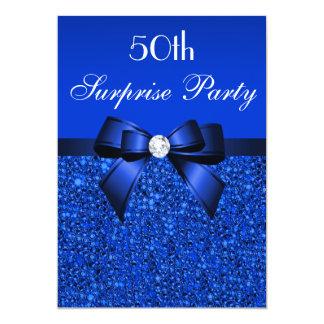 50.o Lentejuelas y arco del azul real del fiesta Invitación 12,7 X 17,8 Cm
