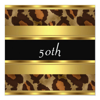 50.o Leopardo del oro de la fiesta de cumpleaños Invitación 13,3 Cm X 13,3cm