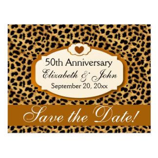 50.o Leopardo del oro del aniversario de boda del Postal