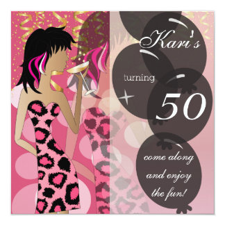 50.o Leopardo rosado del fiesta el | del chica del Invitación 13,3 Cm X 13,3cm