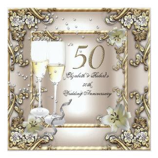 50.o Lirio del oro de la crema del boda del Invitación 13,3 Cm X 13,3cm