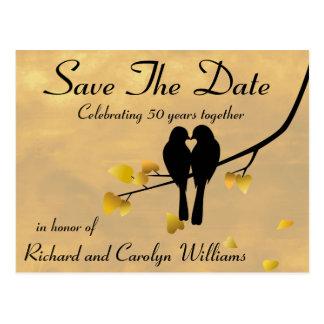 50.o Los Lovebirds del aniversario ahorran la Postal