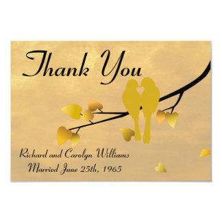 50.o Los Lovebirds del aniversario le agradecen Invitación 8,9 X 12,7 Cm
