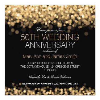 50.o Luces del oro del aniversario de boda Invitación 13,3 Cm X 13,3cm