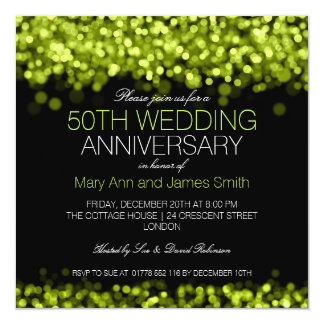 50.o Luces verdes del aniversario de boda Invitación 13,3 Cm X 13,3cm