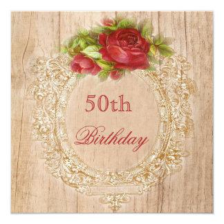 50.o marco de madera del rosa rojo del cumpleaños invitación 13,3 cm x 13,3cm