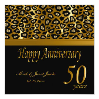 50.o modelo de oro feliz del leopardo del invitación 13,3 cm x 13,3cm