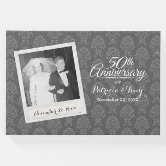 50.o Modelo del damasco de la foto del aniversario Libro De Visitas