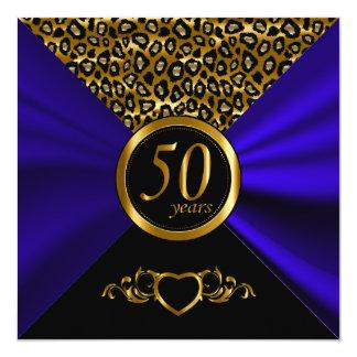 50.o Modelo del leopardo del aniversario de boda Invitación 13,3 Cm X 13,3cm
