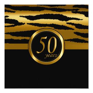 50.o modelo feliz de la cebra de los años el | del invitación 13,3 cm x 13,3cm
