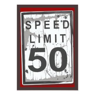 50.o Muestra sucia del límite de velocidad de la Invitación 12,7 X 17,8 Cm