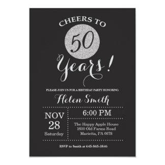 50.o Negro de la invitación del cumpleaños y