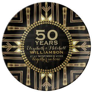 50.o Negro de la placa el | del aniversario+ Art Plato De Porcelana