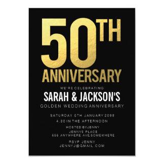 50.o Negro del aniversario de boda de oro y fiesta Invitación 11,4 X 15,8 Cm