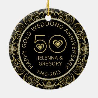 50.o Negro del aniversario de boda del oro y Adorno Navideño Redondo De Cerámica