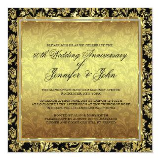 50.o Negro del aniversario de boda y damascos del Invitación 13,3 Cm X 13,3cm