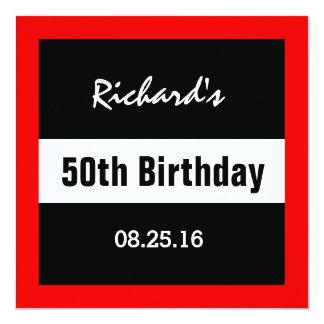 50.o Negro del cumpleaños con el marco rojo Z50 Invitación 13,3 Cm X 13,3cm