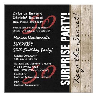 50 o Negro del cumpleaños de la SORPRESA rojo y Comunicado Personal