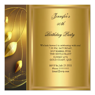 50.o Negro elegante del oro de la fiesta de Invitación 13,3 Cm X 13,3cm