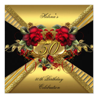 50.o negro elegante del oro de los rosas rojos de invitación 13,3 cm x 13,3cm