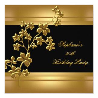 50.o Negro exótico del oro de la fiesta de Invitación 13,3 Cm X 13,3cm
