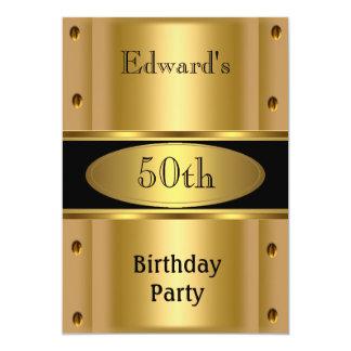 50.o negro para hombre del oro de la fiesta de invitación 12,7 x 17,8 cm