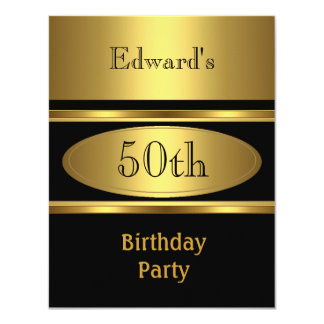 50.o negro para hombre del oro de la fiesta de invitación 10,8 x 13,9 cm