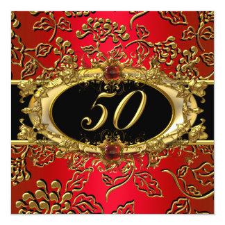 50.o Negro rojo del oro del damasco de la fiesta Invitación 13,3 Cm X 13,3cm