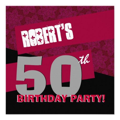 50.o Negro rojo moderno G25 de la fiesta de cumple Comunicados
