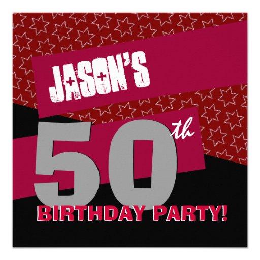 50.o Negro rojo moderno G27 de la fiesta de cumple Invitacion Personalizada