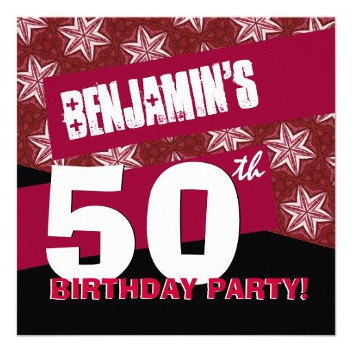 50.o Negro rojo moderno G35 de la fiesta de cumple Comunicados Personales