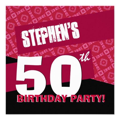50.o Negro rojo moderno G36 de la fiesta de cumple Invitacion Personal
