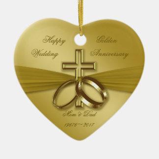 50.o ornamento de oro religioso del aniversario de