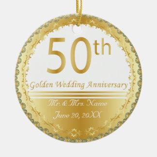 50 o Ornamento del aniversario de boda de oro