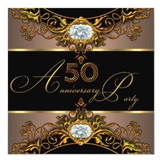 50.o Oro 2 del negro del café de la élite del Invitación 13,3 Cm X 13,3cm