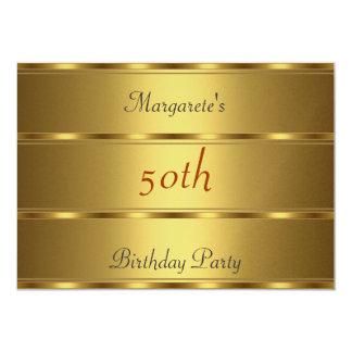50.o oro de la fiesta de cumpleaños invitación 12,7 x 17,8 cm