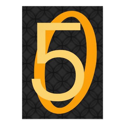 50.o Oro de los granes números del cumpleaños y E6 Invitación