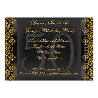 50.o oro del negro y del negro de la fiesta de invitación 12,7 x 17,8 cm