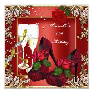 50.o Oro del rosa rojo de la fiesta de cumpleaños Invitación 13,3 Cm X 13,3cm
