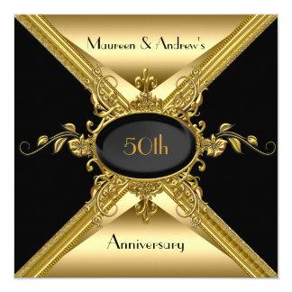 50.o Oro elegante del aniversario de boda de oro Invitación 13,3 Cm X 13,3cm