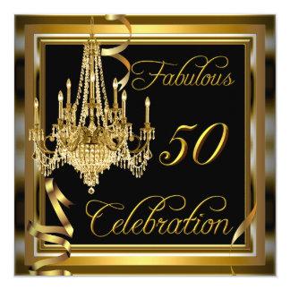 50.o oro fabuloso del negro de la celebración del invitación 13,3 cm x 13,3cm