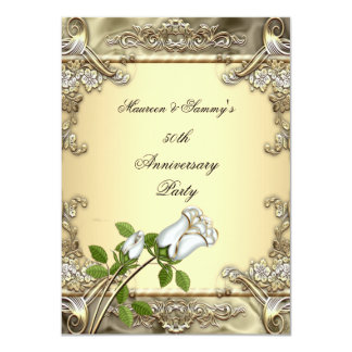 50.o Oro subió crema del boda del aniversario Invitación 11,4 X 15,8 Cm