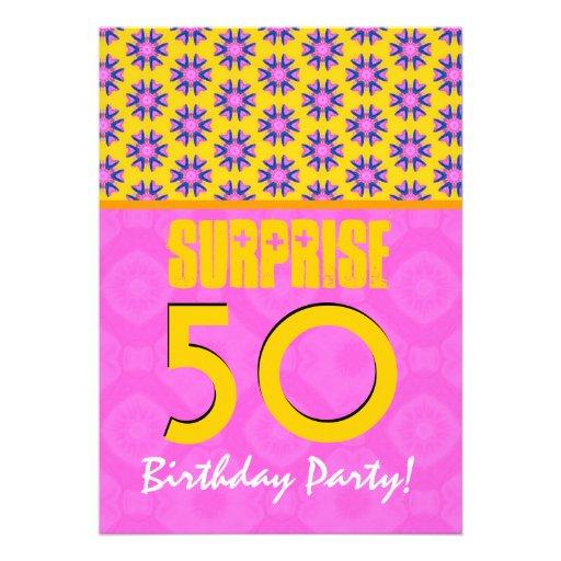 50.o Oro verde rosado moderno V34 del cumpleaños d Invitación