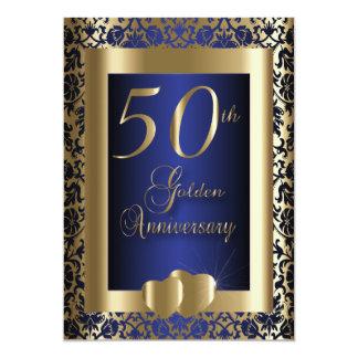 50.o Oro y texto azul del aniversario de boda el | Invitación 12,7 X 17,8 Cm