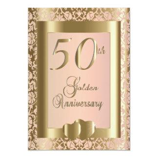 50.o Oro y texto color de rosa del aniversario de Invitación 12,7 X 17,8 Cm