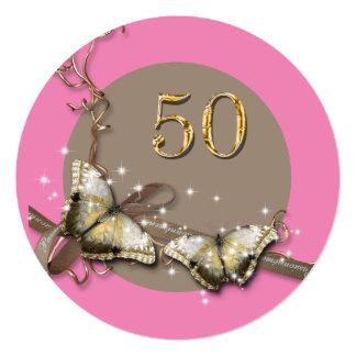 50.o país rústico del cumpleaños el | de la mujer invitación 13,3 cm x 13,3cm