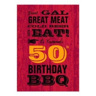 50 o Parrilla del Bbq del cumpleaños hacia fuera