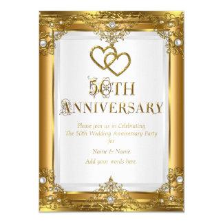 50.o Perla blanca del oro elegante del aniversario Invitación 11,4 X 15,8 Cm
