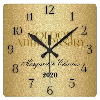 50.o Personalizado de Annivsersary del boda de oro Reloj Cuadrado